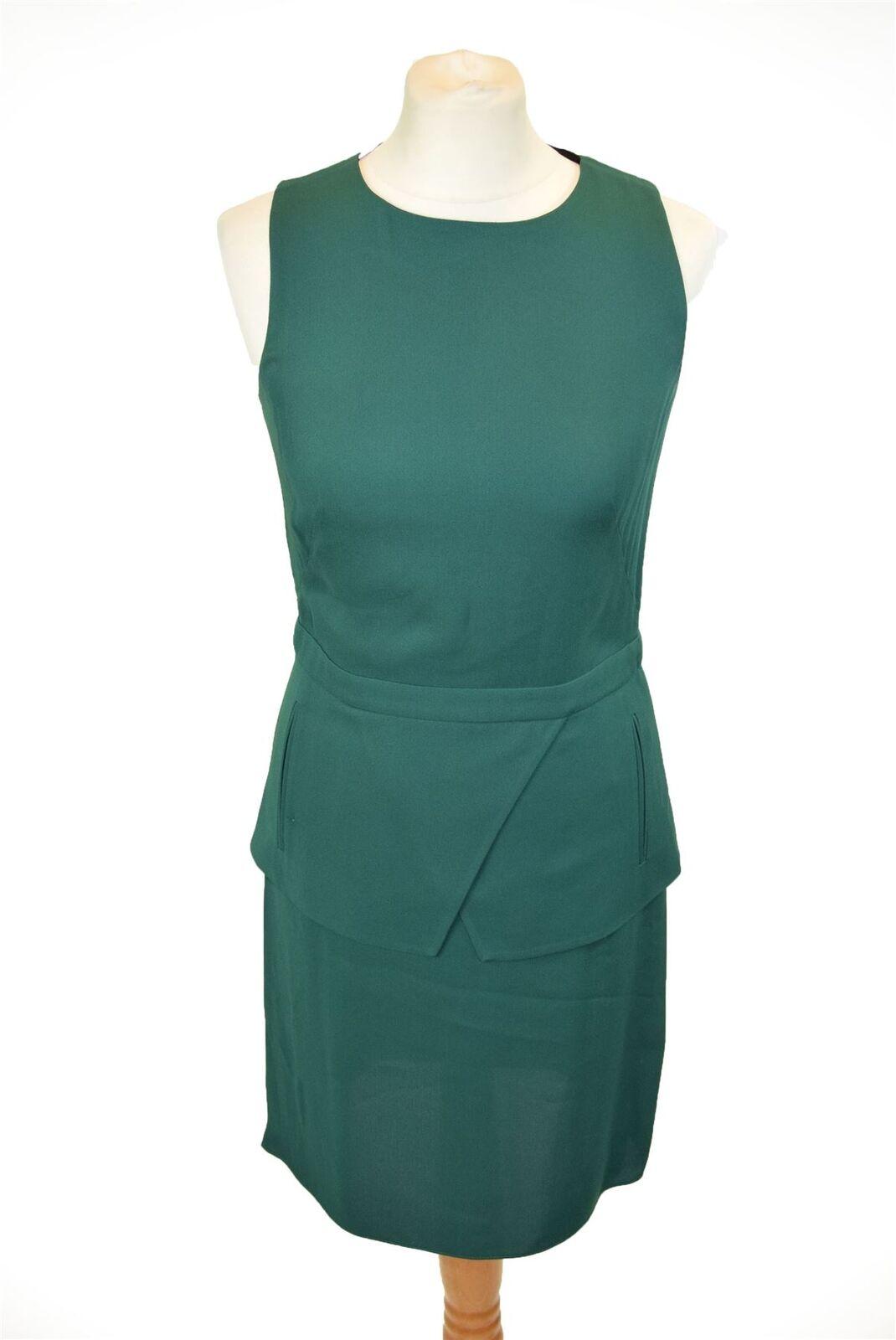 TIBI Green Crepe Peplum Dress, US 4
