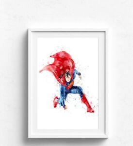 Batman The Joker watercolour  Wall Picture Print  A4