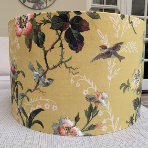 Handmade Lampshade Leighton Velvet Ochre Mustard Yellow Birds Floral Roses Retro