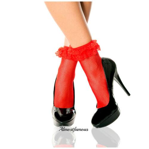 Vintage Lace Ruffle Frilly Ankle Socks Fashion Ladies White Retro uk stock