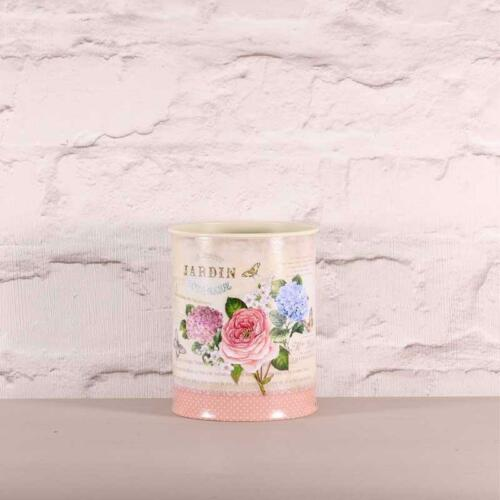 ROSE /& ORTENSIA Stampa Fiore Pianta Container 10 x 10cm vintage Country