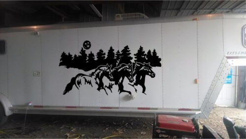 Extra LARGE Running Horses Horse Trailer RV Decal Stickers  42x80  set of 2 HUGE