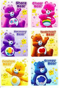 Details About Care Bears Stickers X 6