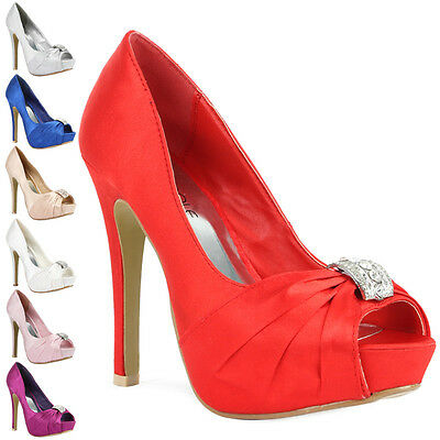 WOMENS LADIES BRIDAL FASHION EVENING DIMONTIE PARTY WEAR PEEP TOE UK SIZES 3-8