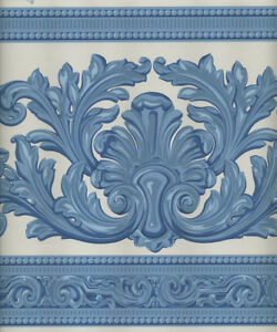 Image Is Loading BLUE AND WHITE VICTORIAN ARCHITECTURAL DAMASK LOOK WALLPAPER