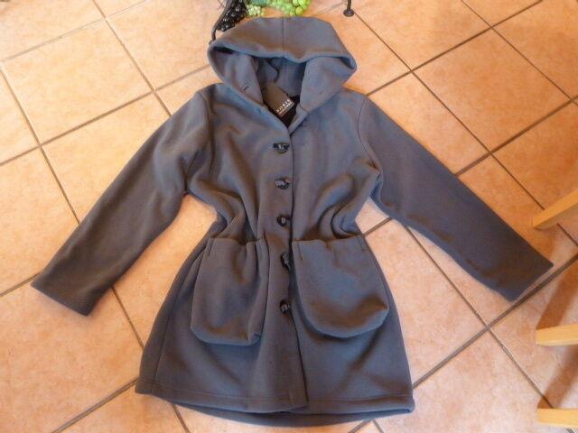 BORIS INDUSTRIES Long Jacke Fleece mit Kapuze WINTER 44 46 NEU grau LAGENLOOK