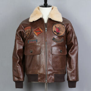 9e4375044 Details about Avirex Fly Air Force Bomber Jacket Genuine Leather Jacket Men  G1 Winter Coat