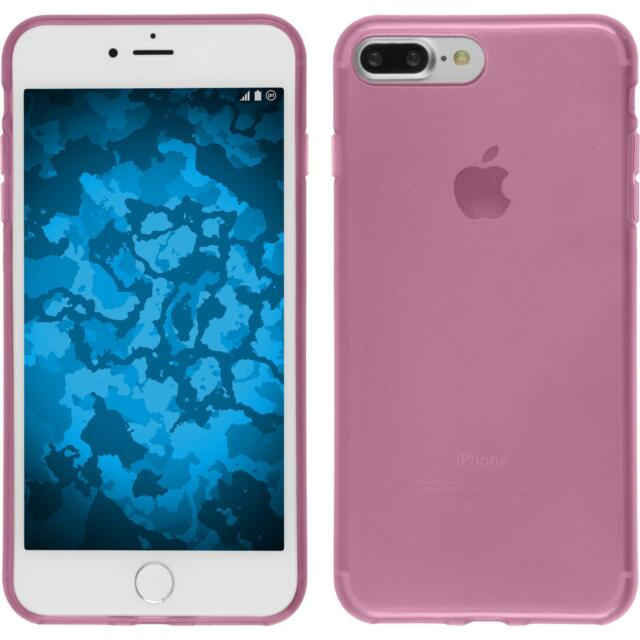 Silicone Case for Apple iPhone 8 Plus transparent pink + protective foils