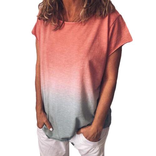 Damen Sommer Rundhals Kurzarm Shirts Bluse Freizeit T-shirt Ombre Tunika Tops