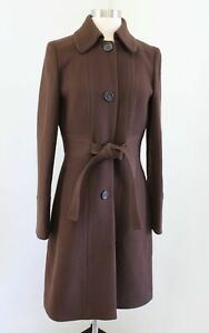 J Crew Brown Double Cloth Button Front Wool Tie Waist Trench Coat Jacket Size 6