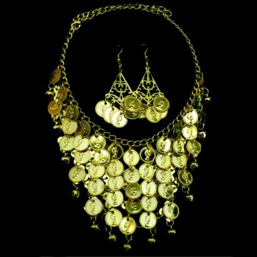 Belly Dance Jewelry Set Chain Necklace Collier Earrings Coins Bells Gold