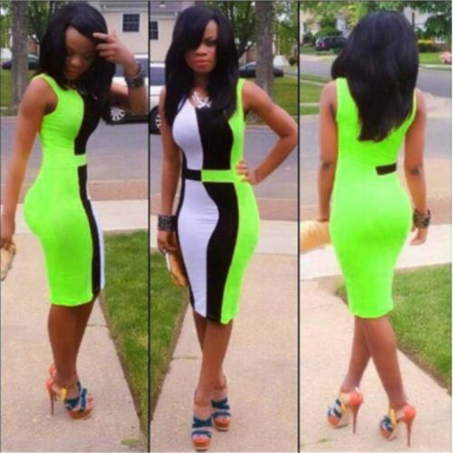 Women/'s Elegant Colorblock Wear to Work Party Pencil Sheath Bodycon Dress Q