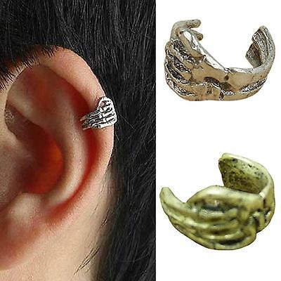 Ohrringe Gothic Ohrklemme Punk Skull SILBER earcuff Skelett Skeletthand Neu
