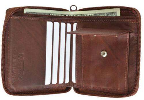 Men/'s Bifold Zip Around Credit Card Coin Change Leather Wallet U.S Seller
