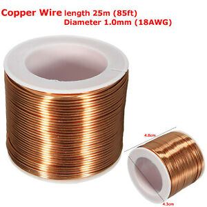 25m-1mm-18GA-Enameled-Enamelled-Spool-Copper-Coil-Magnet-Wire-Welding-Cable-Roll