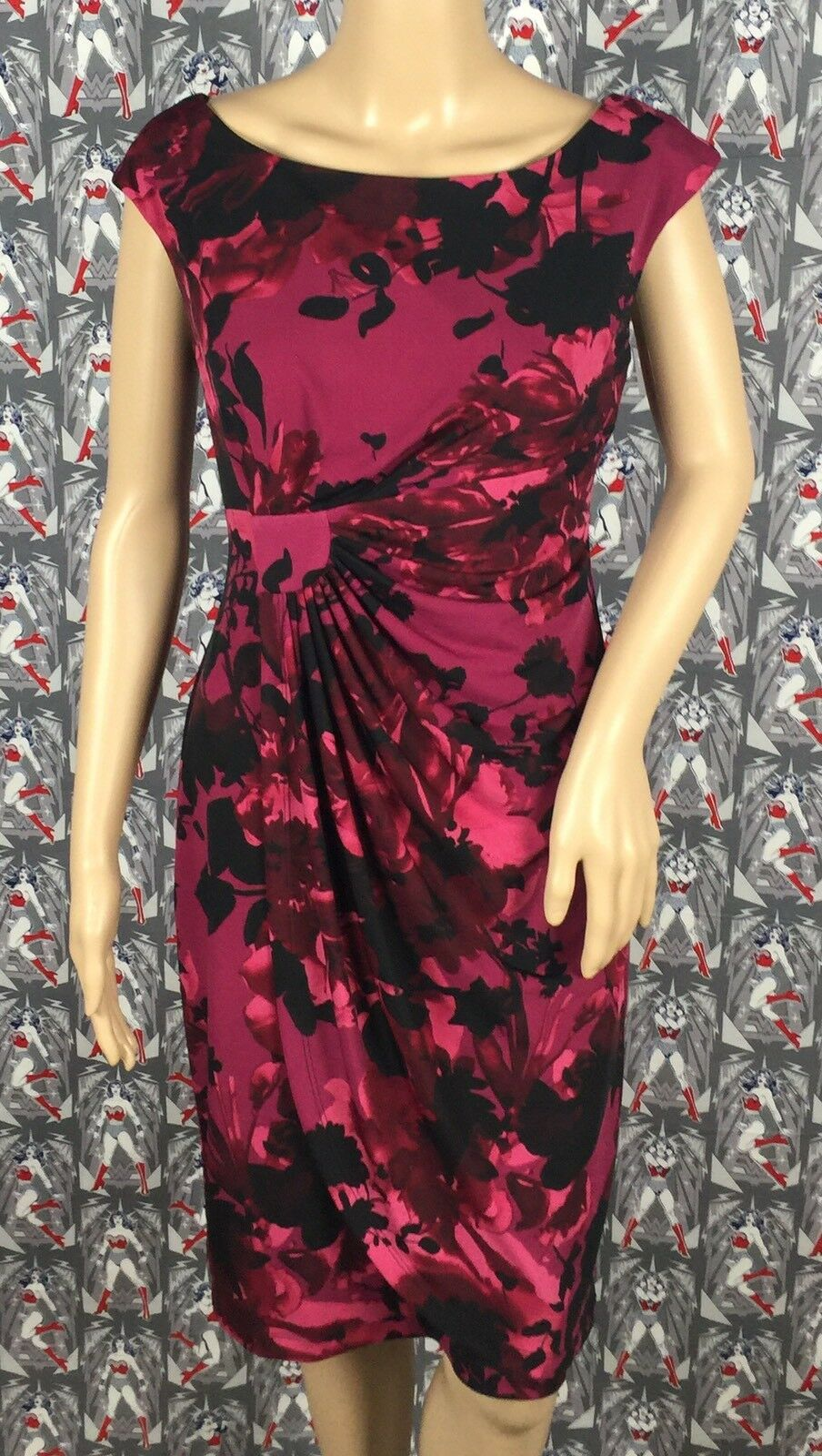 Connected Apparel Polyester Spandex Multicolord Floral Magenta Dress Size 6