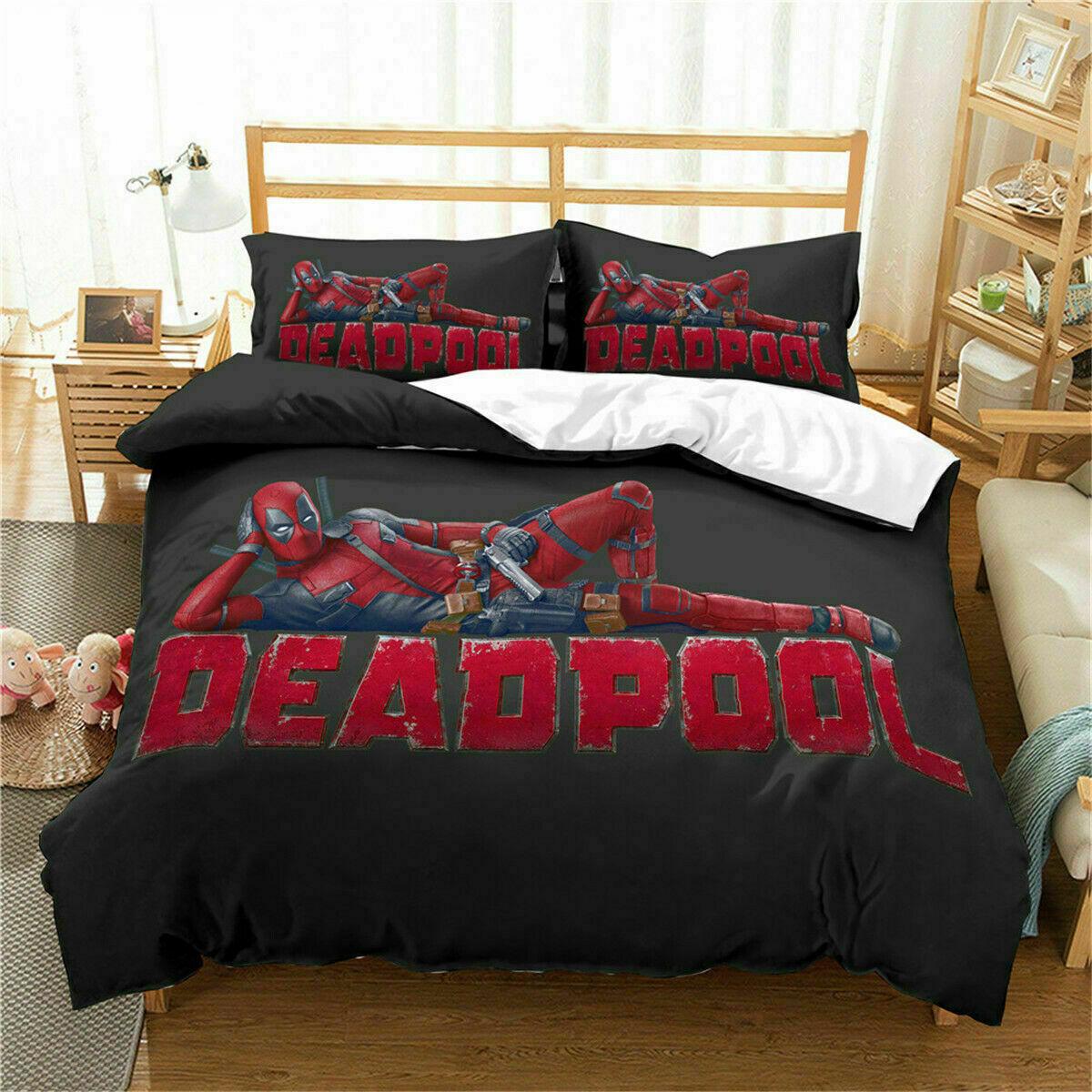 3D Deadpool Lying Down Bedding Set Duvet Cover Comforter Quilt Cover Pillowcase