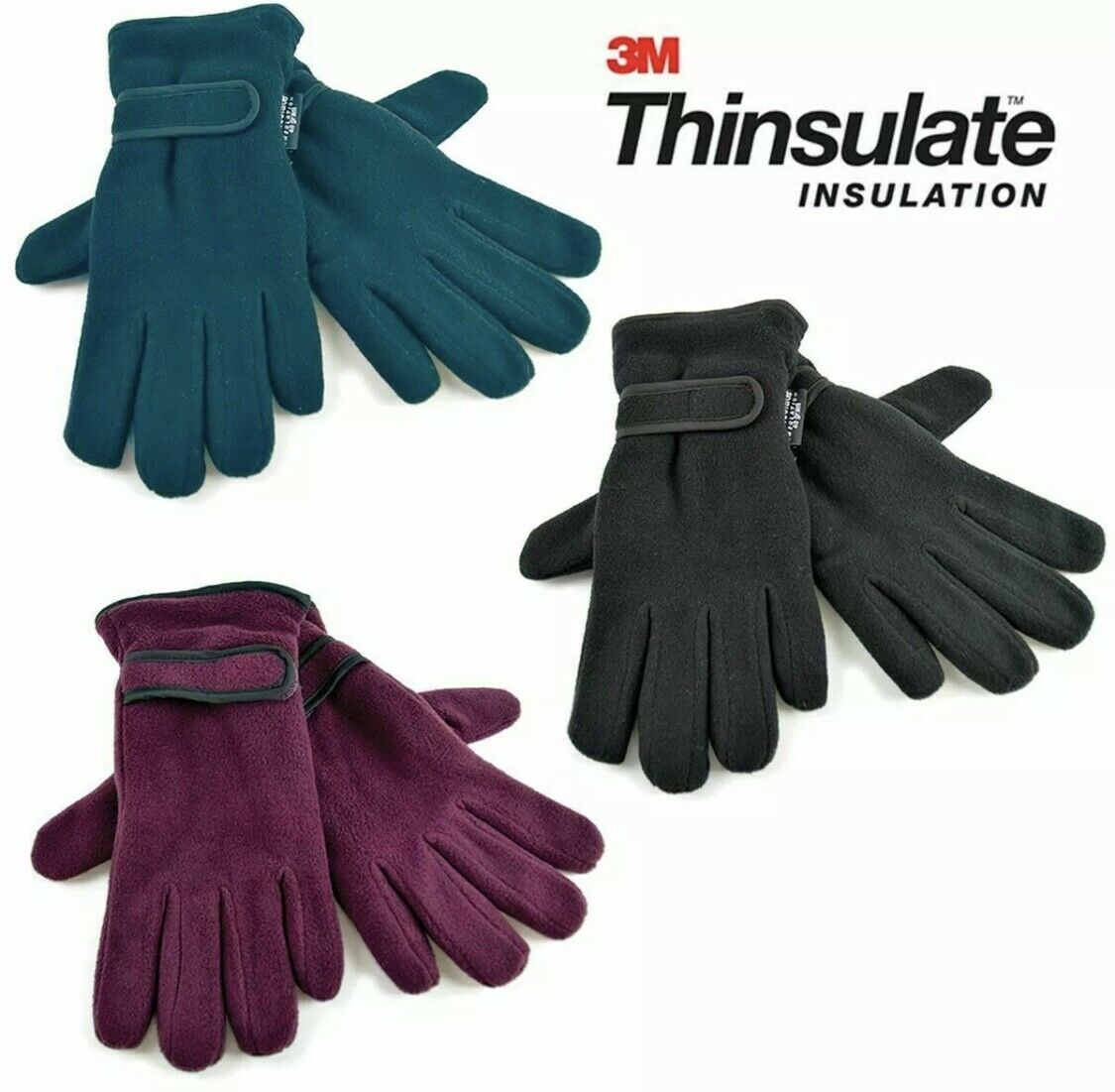 Ladies Thinsulate Gloves (3M) with Wrist Strap 3 Colours Black, Blue, Red