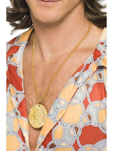 Gold Metal Medallion On Chain 60s Fancy Dress Hippy Accessory