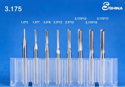 "10x 1//8/"" Double Flute Straight Slot CNC Router Bits Tungsten Carbide 3.175*17mm"