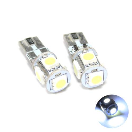 501,W5W,T10 2x White 5-SMD LED Canbus 12v Side Light//Interior Bulbs