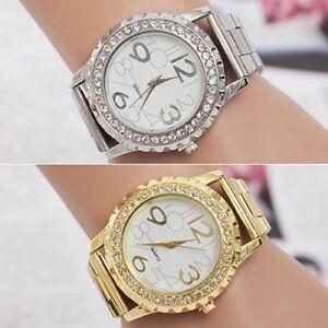 WOMEN-039-S-MEN-039-S-Strass-Cristallo-in-Lega-di-Acciaio-inox-analogico-orologio-da-polso-al-quarzo