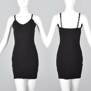 Xs 1990s Black Knit Bodycon Dress Sexy Tight Cocktail