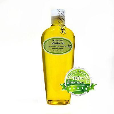 8 Oz Premium 100% Pure Organic Cold Pressed Best Jojoba Golden Oil Multi Purpose