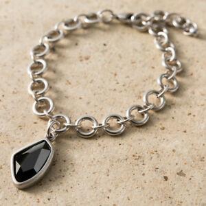 ab0b477e0 Image is loading Danon-Jewellery-Grey-Crystal-Silver-Link-Bracelet