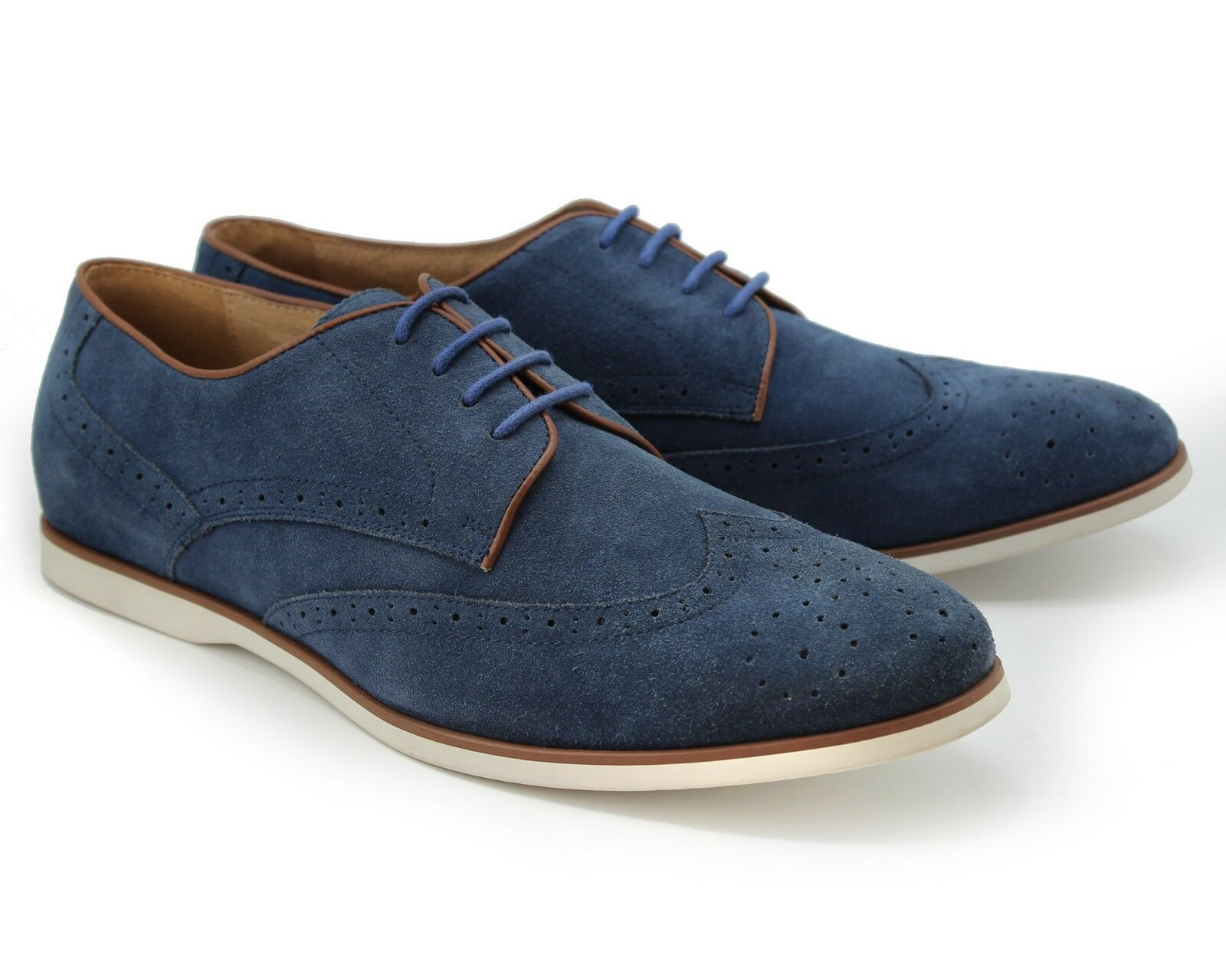 163 NEW NAVY blueE REAL SUEDE CASUAL LACE UP SHOES SUMMER LIGHT BROGUE EU41
