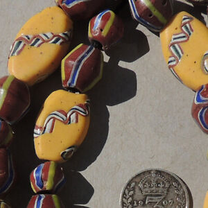 11-old-antique-venetian-tabular-26-bicone-fancy-beads-african-trade-1810