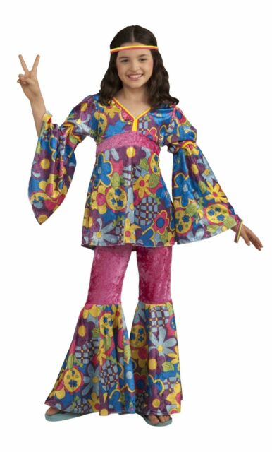 Flower Power Hippie 60u0027s Groovy Retro Child Costume  sc 1 st  eBay & 60s Flower Power Hippie Child Kids Costume Girls Medium 8-10 Groovy ...