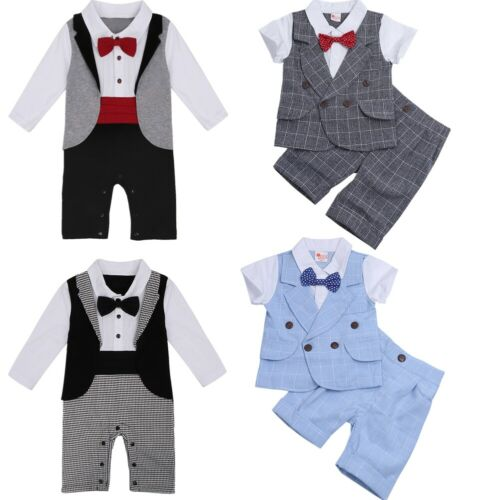 Baby Boys Formal Tuxedo Gentleman Suit Romper Jumpsuit Kids Plaid Outfit Party