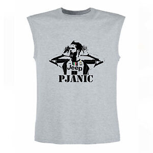 Art-T-shirt-Senza-Maniche-Miralem-Pjanic-Uomo-Man-Grigio
