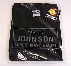 BLACK-JohnSon-Heavy-Weight-Cotton-XL-TALL-Crew-Neck-T-Shirt-Piranha-Records