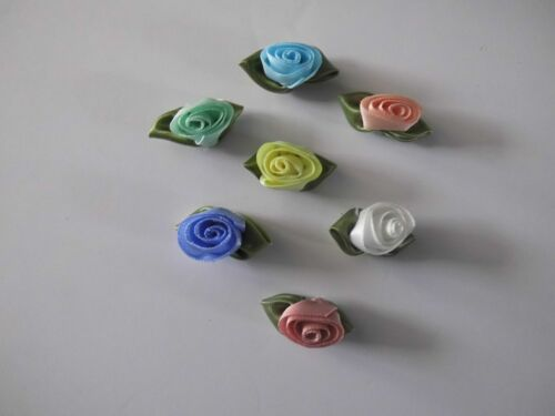 Ivory Swirl Barrel Ribbon Rose Sew On Various colours.Cardigans//Knitting//Crafts