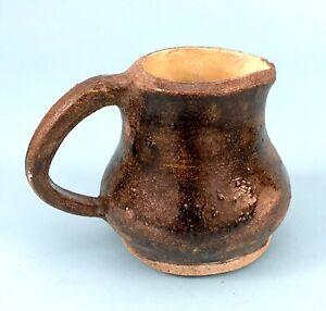 Vintage Folk Art Primitive Stoneware Creamer or Pitcher~ Brown/ Yellow Glaze