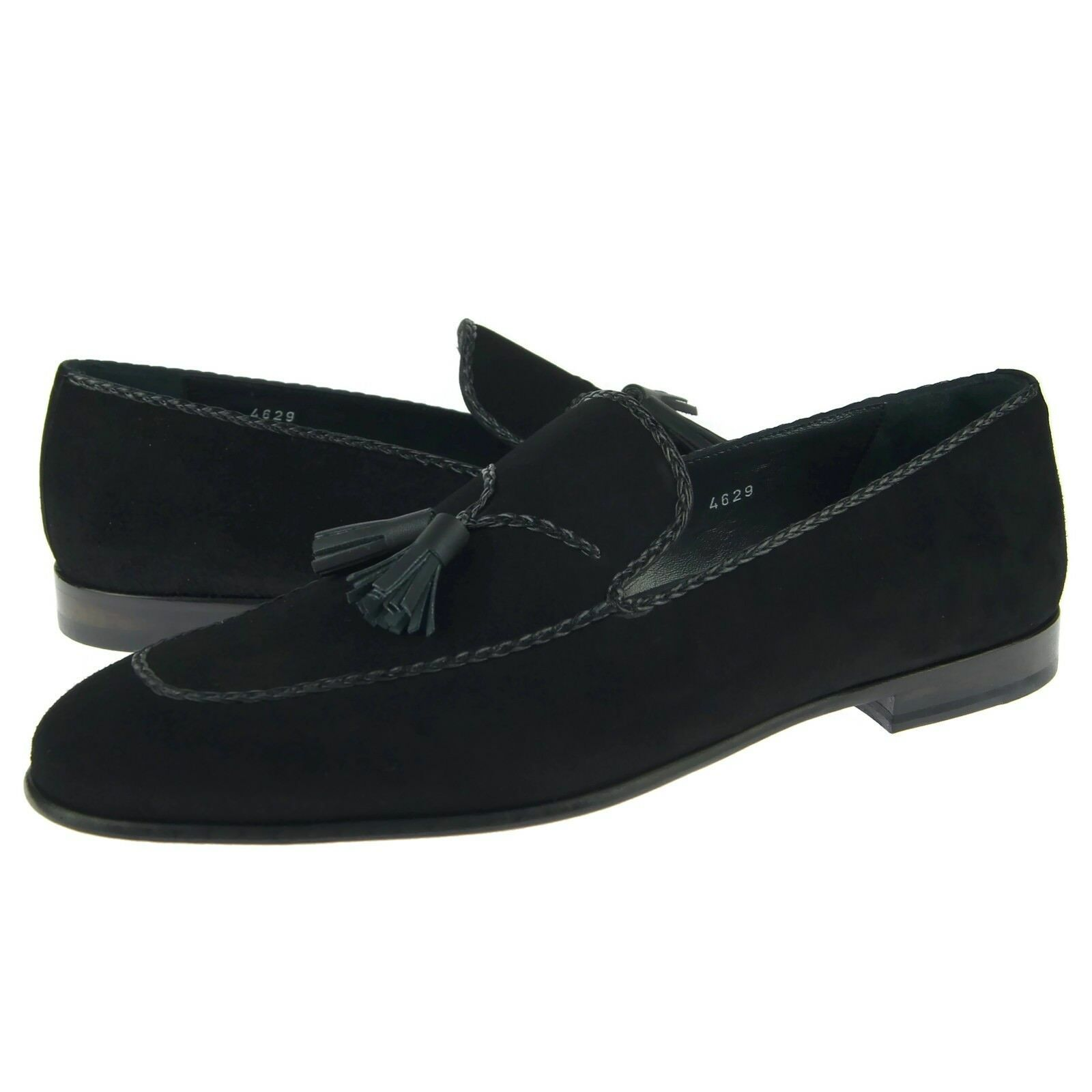 Corrente 4629 Suede Tassel Loafer, Men's Slip-on shoes, Black