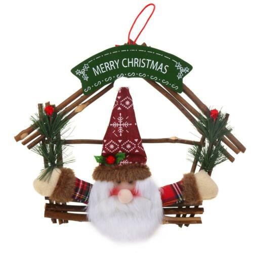 Rattan Wreath Snowman ELK Swing Christmas Tree Hang Decor Family Fun Mini Toy