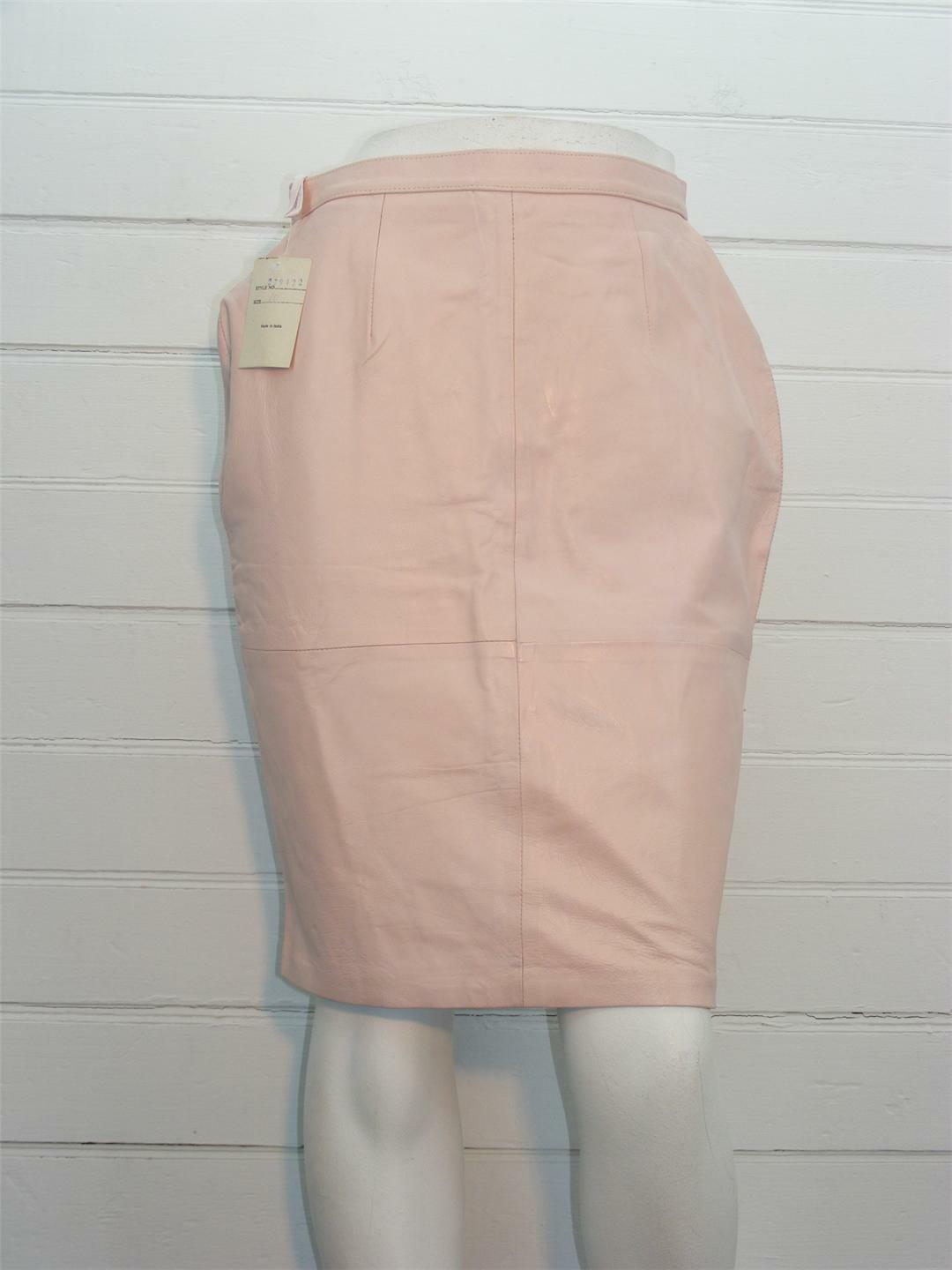 JEWEL QUEEN Skirt Light Pink Leather LINED Below Knee A-Line Sz 10 - W28  x L23