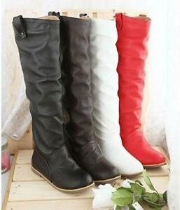 Fashion-Women-039-s-Knee-High-Flat-Heel-Boots-Round-Toe-Shoes-US-5-10-New-2019-Chic