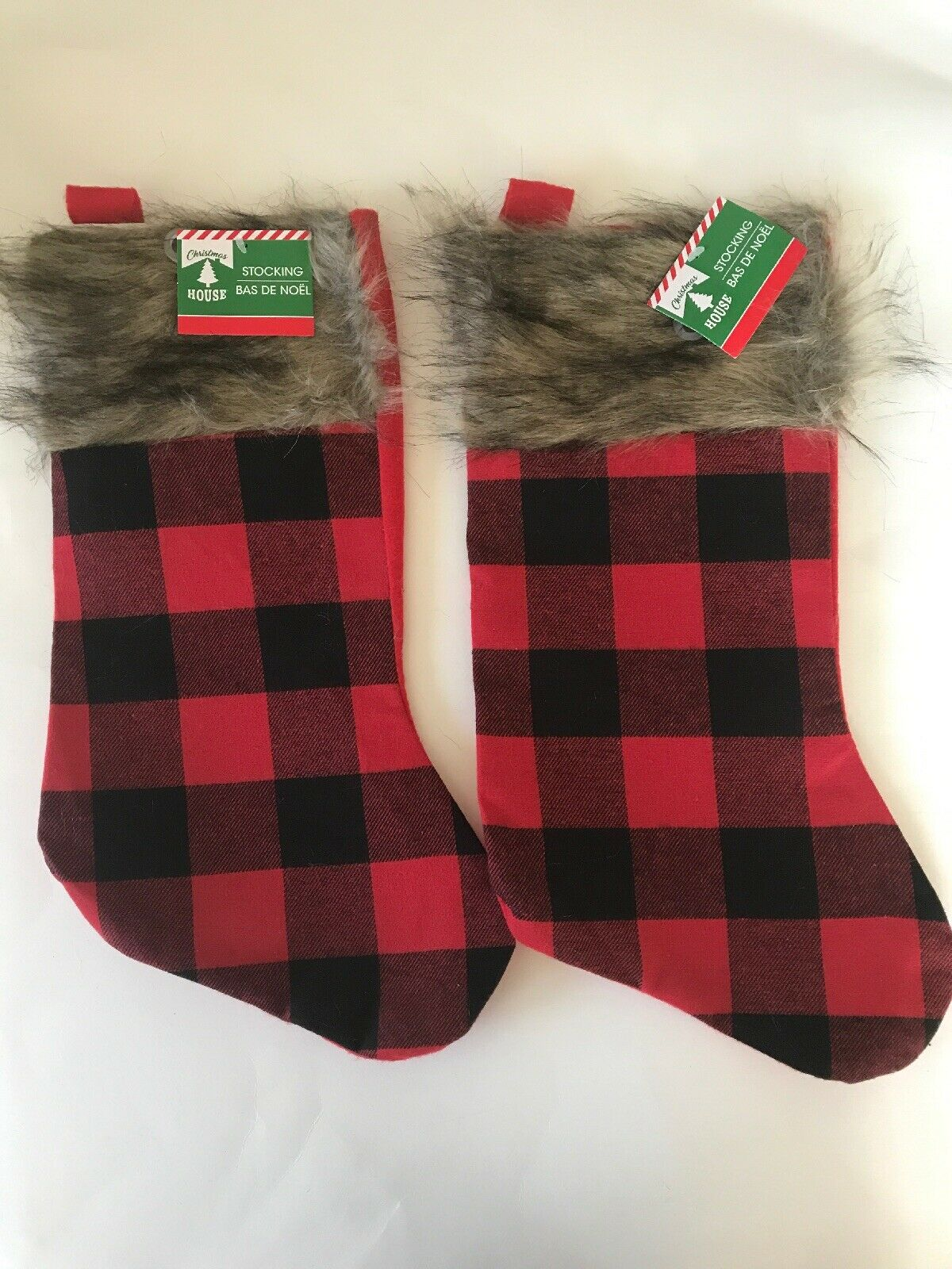 3 Pack 20 Inches Velvet Christmas Stockings Fireplace Hanging Red with White for