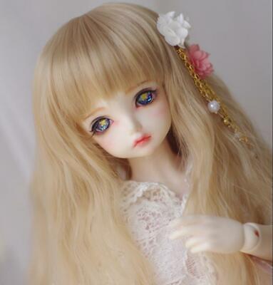 12.5-14cm Sweet Cute Flax Gold Long Curly Hair For 1//8 SD AA BJD Wig Broken bang