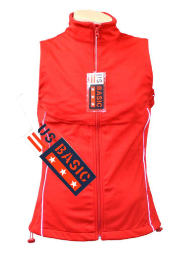 US Basic Cromwell Mens Soft Shell Body Warmer Gilet Red Reflective Strips