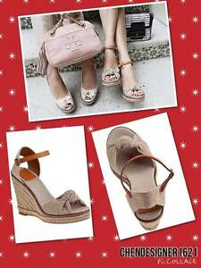 cd8d803562b4 Tory Burch size 10m US Macy Leather Wedge Espadrille Sandals new