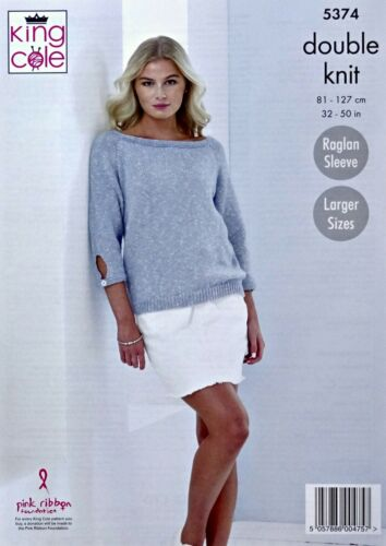 KNITTING PATTERN Ladies Short//3//4 Sleeve Summer Tops Cottonsoft DK KingCole 5374
