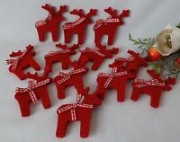 Set of 12  Nordic Christmas Tree Decorations Red Felt Fabric Reindeer Hang Stick