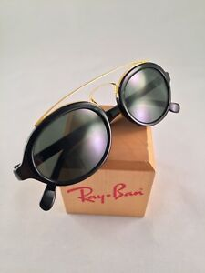 Vintage-Ray-Ban-Bausch-and-Lomb-Gold-Black-Oval-Gatsby-Style-6-W0940-USA-New-NOS