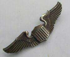 """RARE Vintage Sterling Silver Airforce Military WWII Pin Wings Aviation Shield 3"""""""