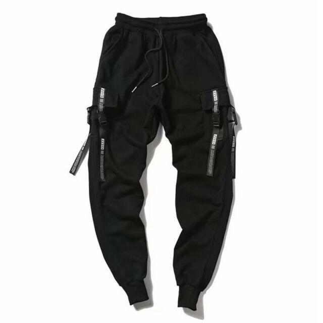 Mens Goth Suspender Pocket Harem Pants Hip Hop Cargo Trousers Sweatpants Black S